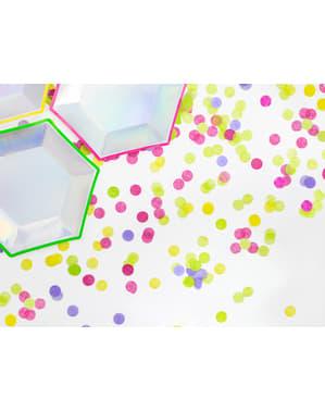 Papierowe konfetti na stół kółka fuksja