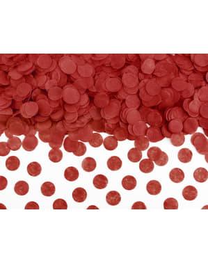 Confetes redondos vermelhos de papel para mesa