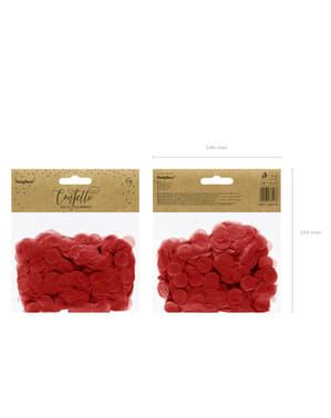 Ympyränmuotoinen paperinen pöytäkonfeti, punainen