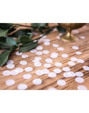 Confetes redondos brancos de papel para mesa
