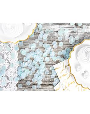 Ympyränmuotoinen paperinen pöytäkonfeti, pastellinsininen