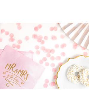Papperskonfetti rund rosa pastel till bordsdukning