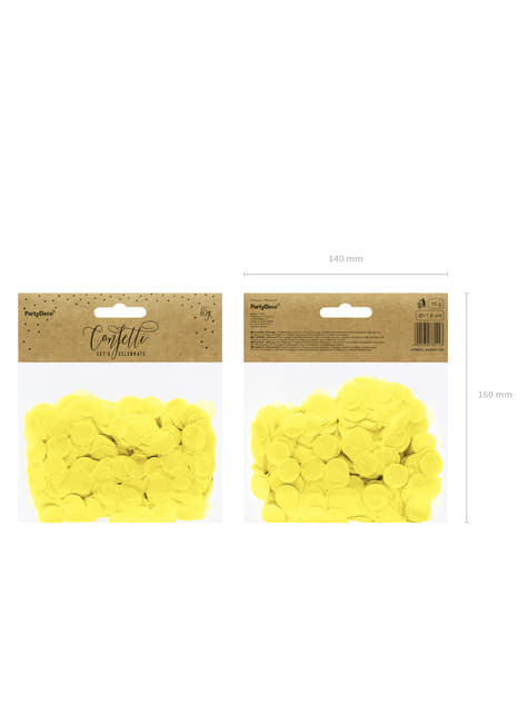 Ronde papieren tafel confetti, geel
