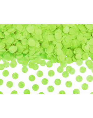Confeti redondo verde claro de papel para mesa