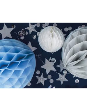 Srebrne konfetti na stół kółka - New Year & Carnival