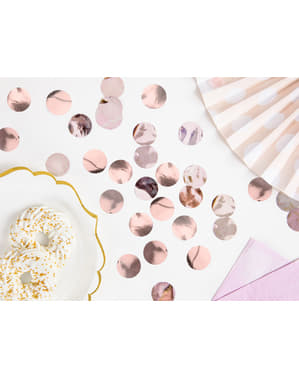 Cirkel tafel confetti, rose goud - Nieuwjaar & Carnaval