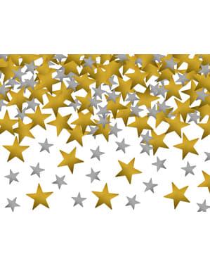 Goud en zilveren sterren confetti - Nieuwjaar & Carnaval