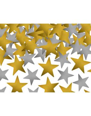 Goud en zilveren sterren tafel confetti - Nieuwjaar & Carnaval
