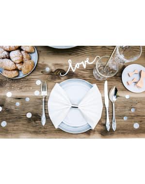 Confeti redondo variado gris metálico y purpurina para mesa - Elegant Bliss Collection