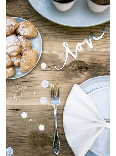 Confeti redondo variado gris metálico y purpurina para mesa - Elegant Bliss Collection - comprar