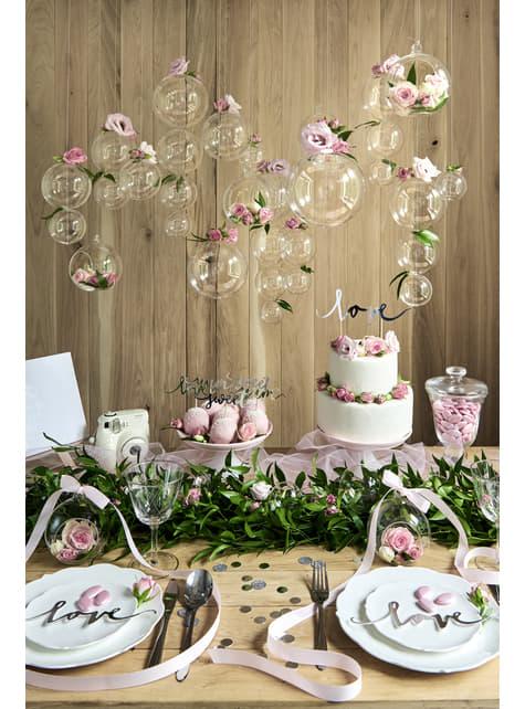 Confeti redondo variado gris metálico y purpurina para mesa - Elegant Bliss Collection - para niños y adultos