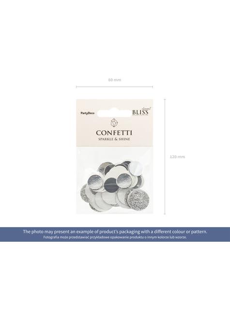 Confeti redondo variado gris metálico y purpurina para mesa - Elegant Bliss Collection - original
