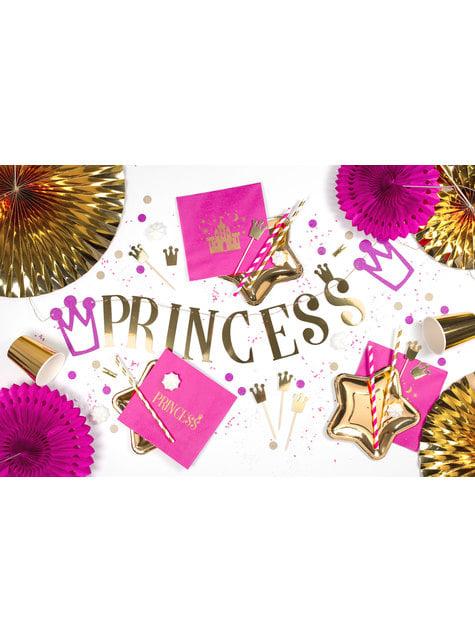 Confetes com forma de coroa e redondos roxo e dourado para mesa - Princess Party