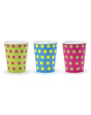 6 vasos estampado de lunares variados de papel - Colorful & holographic birthday