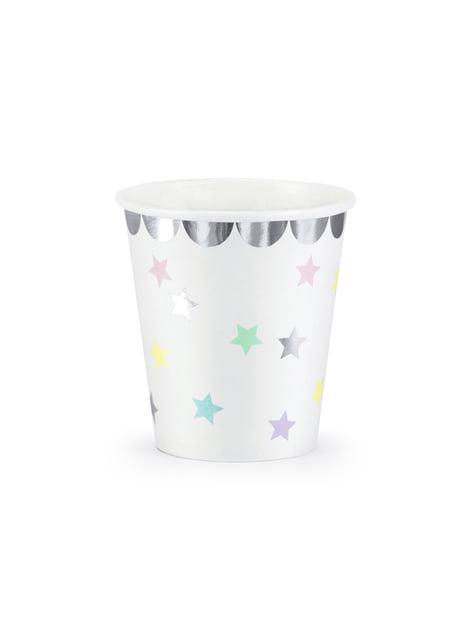 6 vasos con estrellas de colores - Unicorn Collection