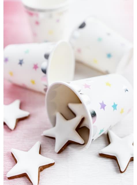 6 vasos con estrellas de colores - Unicorn Collection - para tus fiestas