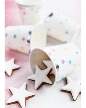 Комплект от 6 чаши бяла хартия с многоцветни и сребърни звезди - Колекция Еднорог