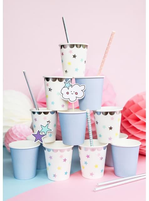 6 vasos con estrellas de colores - Unicorn Collection - barato