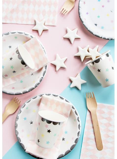 6 vasos con estrellas de colores - Unicorn Collection - para niños y adultos