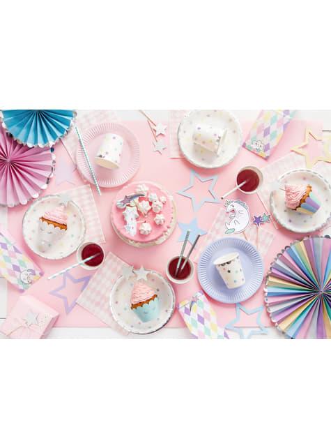6 vasos con estrellas de colores - Unicorn Collection - para decorar todo durante tu fiesta