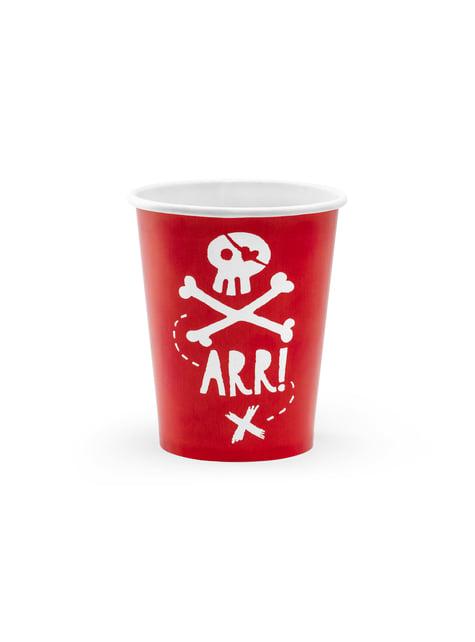6 vasos rojos de piratas - Pirates Party
