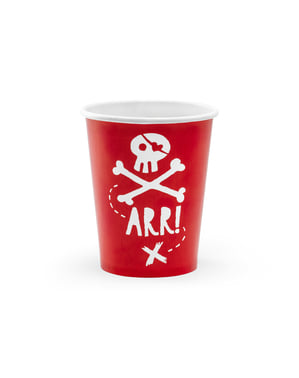 Set 6 červených papírových kelímků s pirátským motivem - Pirates Party