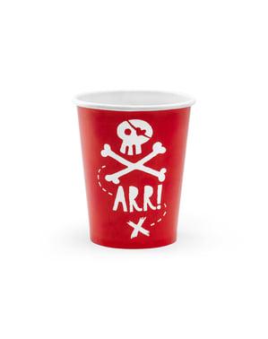 6海賊紙コップ、赤 - パイレーツパーティーのセット