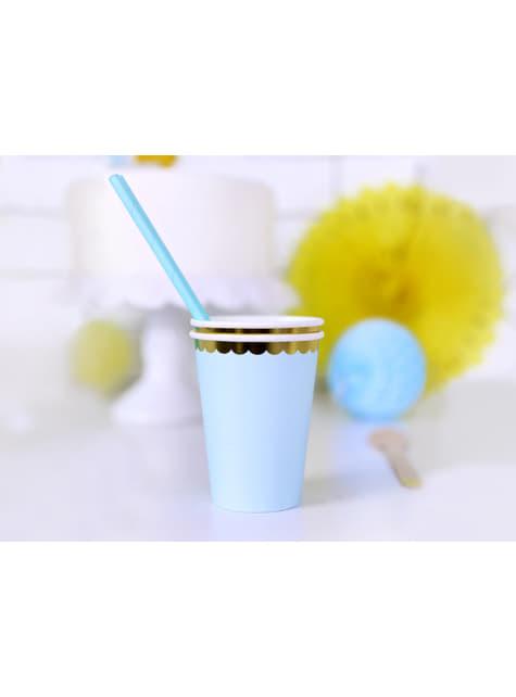 6 vasos azul pastel con borde dorado de papel - Yummy - para tus fiestas