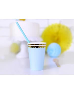 6 vasos azul pastel con borde dorado de papel - Yummy