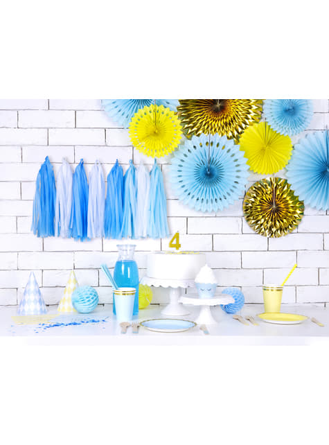 6 vasos azul pastel con borde dorado de papel - Yummy - barato