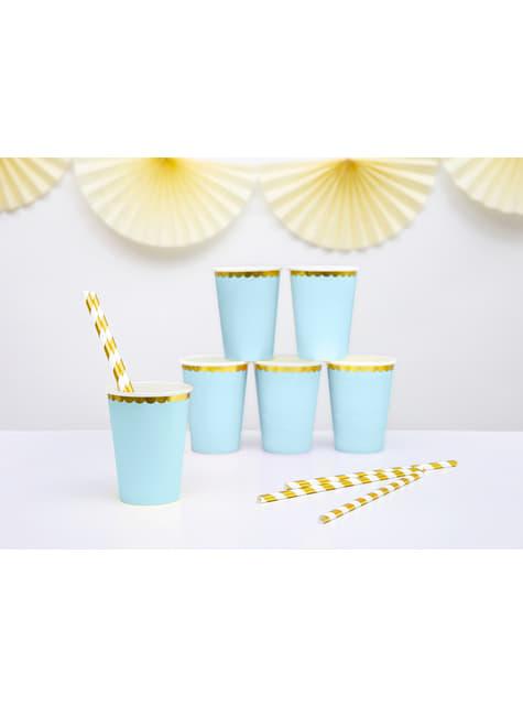 6 vasos azul pastel con borde dorado de papel - Yummy - comprar