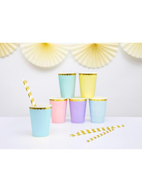 6 vasos azul pastel con borde dorado de papel - Yummy - para niños y adultos