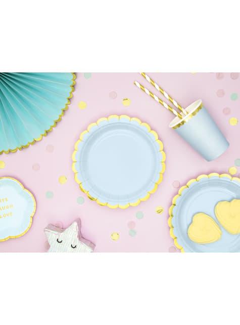 6 vasos azul pastel con borde dorado de papel - Yummy - original
