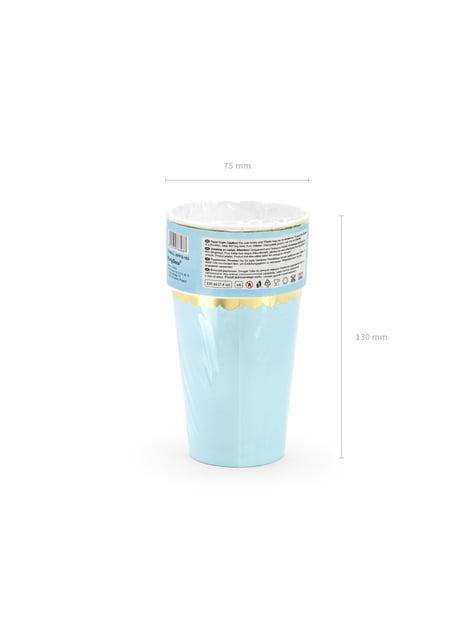6 vasos azul pastel con borde dorado de papel - Yummy - celebra cualquier ocasión
