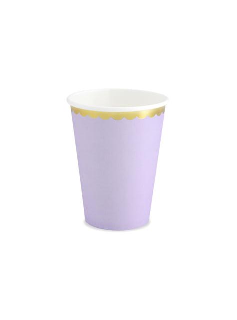 6 vasos lila pastel con borde dorado de papel - Yummy
