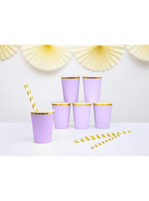 6 vasos lila pastel con borde dorado de papel - Yummy - para tus fiestas