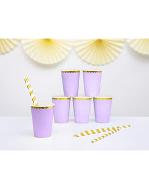 6 pastel paarse papieren bekers met gouden rand - Yummy