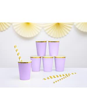 Zestaw 6 pastelowo fioletowe papierowe kubki złote obramowanie - Yummy
