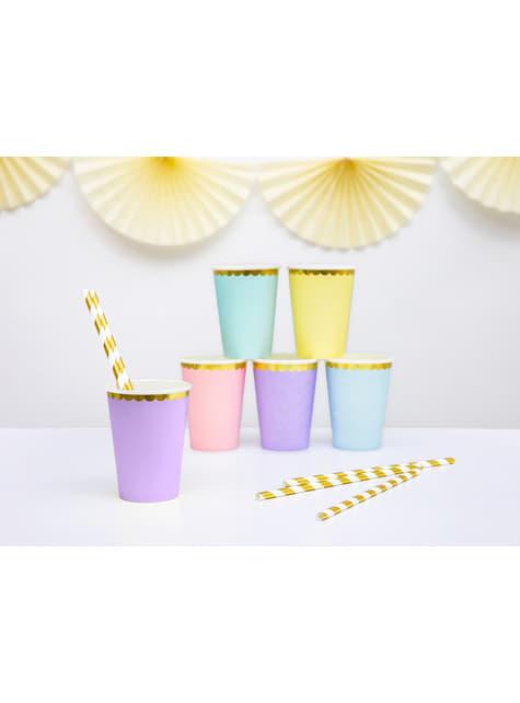 6 vasos lila pastel con borde dorado de papel - Yummy - barato
