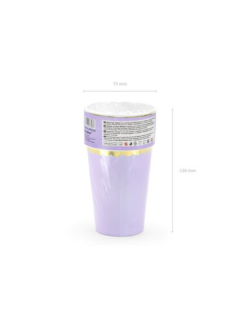 6 vasos lila pastel con borde dorado de papel - Yummy - para niños y adultos