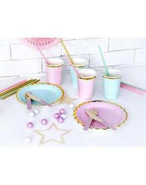 6 copos cor-de-rosa pastel com borda dourada de papel - Yummy