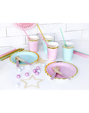 6 Paper Cups with Gold Rim, Pastel Pink - Yummy