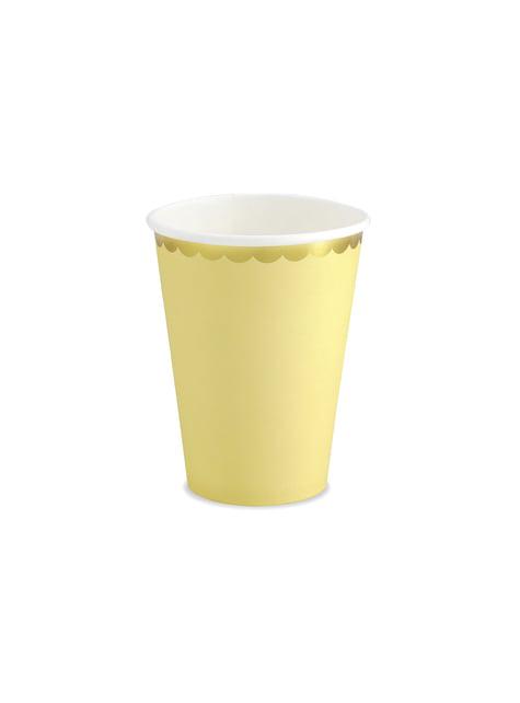 6 vasos amarillo pastel con borde dorado de papel - Yummy