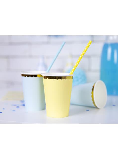 6 vasos amarillo pastel con borde dorado de papel - Yummy - para tus fiestas
