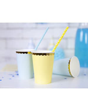 6 Paper Cups with Gold Rim, Pastel Yellow - Yummy