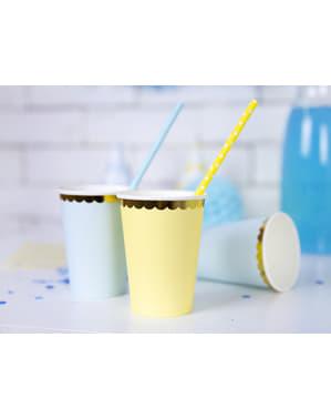 Zestaw 6 pastelowo żółte papierowe kubki złote obramowanie - Yummy