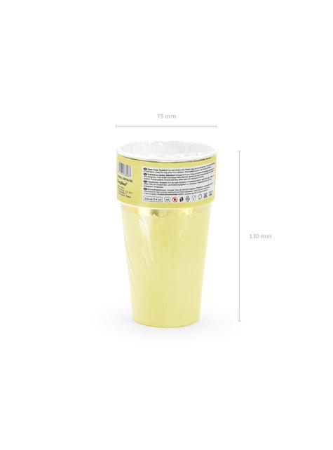6 vasos amarillo pastel con borde dorado de papel - Yummy - barato