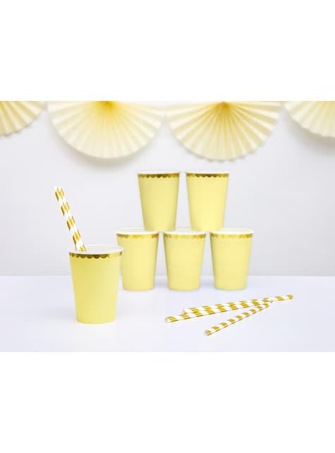 6 vasos amarillo pastel con borde dorado de papel - Yummy - comprar