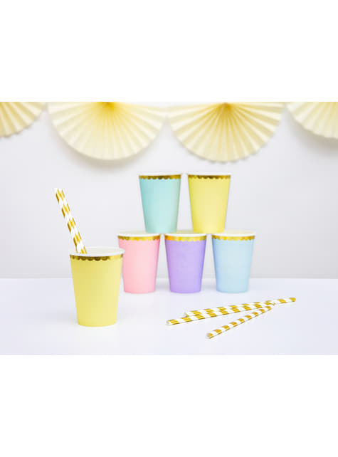 6 vasos amarillo pastel con borde dorado de papel - Yummy - para niños y adultos