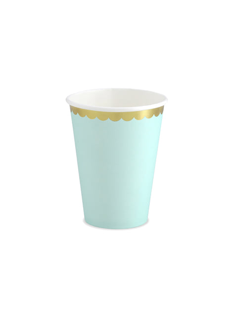 6 vasos verde menta pastel con borde dorado de papel - Yummy